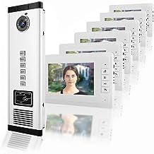 7 pulgadas HD IR Intercomunicador de video Timbre de la puerta, videoportero Visión nocturna Una cámara con seis monitores...