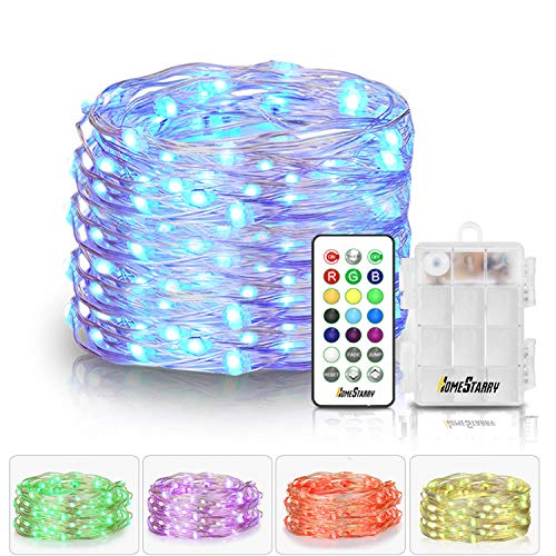 Homestarry LED Fairy Lights Battery Powered with Remote Control, Waterproof Decorative Silver Wire, Bedroom,Patio,Indoor,Party,16.4 ft 50LEDs, Multi Color Changing Lights,13 Colors Option