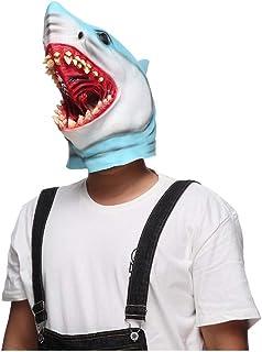 ZJMIYJ Halloweenmask, halloween kostym fest skrämmande skräck latex haj huvud mask full huvudmask för halloween kostym fes...