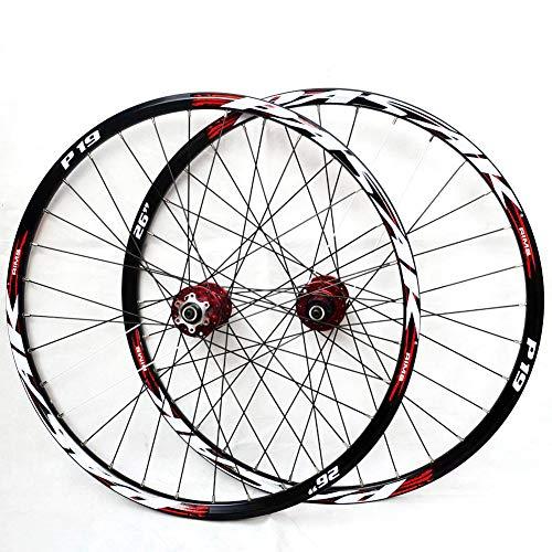 HJRD Montaña Juego De Ruedas, 26/27.5/29 Pulgadas Rueda De Bicicleta Llanta MTB De Aleación Aluminio De Doble Pared Lanzamiento Rápido Freno De Disco 7-11 Velocidad 32H(red27.5)