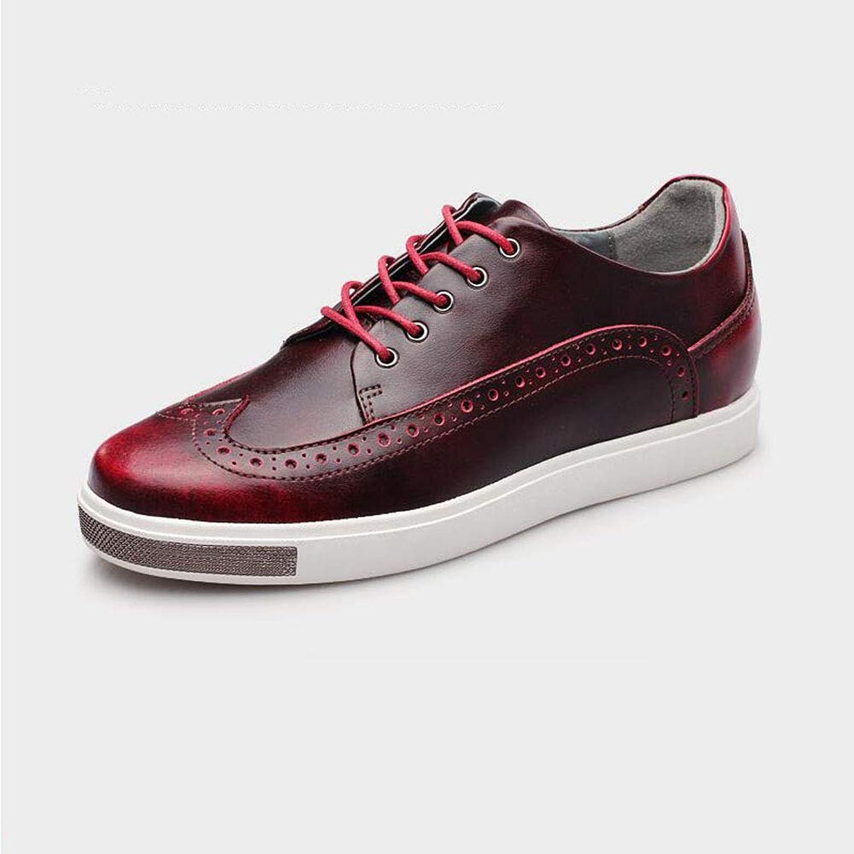 ECSD Herren Oxford Schuhe PU Kleid Schuhe Für Business Casual Lace-Up Invisible Erhöhen Sie 6cm (Farbe   Burgundy, größe   EU42 UK8.5 CN43)  | Online einkaufen