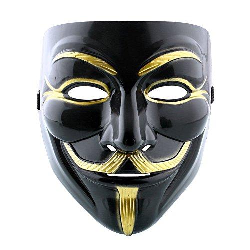 VintageⅢ Halloween Maske Hohe Qualität-Schwarz und Gold Maske V wie Vendetta Kostüm Guy Fawkes Anonymous Maske 2018