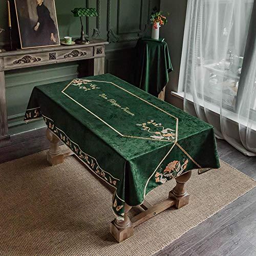 Ahuike Veeg schoon tafelkleed voor partij licht waterdicht Europese luxe hoge einde tafelhoezen rechthoek afneembare tafelkleed donkergroen 140X230cm