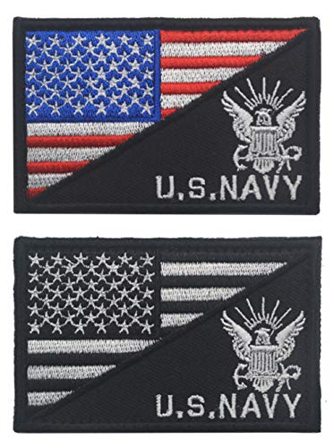 Antrix 2 Pcs American Flag/U.S. Navy US Armed Forces Embroidered Military Morale Patches Hook & Loop Emblem Badge for Hats Backpacks Bags Jackets