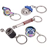 Febrytold 5 Pcs Car Parts Model Key Chains, Colorful Turbo Keychain, Black Manual Gearbox Keychain, Colorful Tire Rim Keychain, Blue Brake Rotor Keychain, Red Spring Shock-absorber Keychain