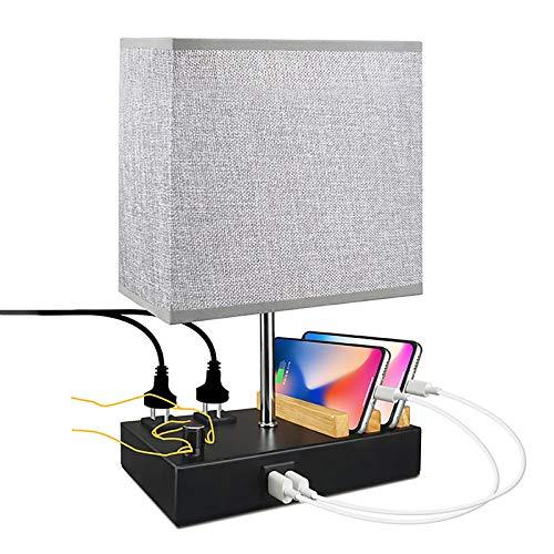 WOERD Lámpara de Mesa con Sensor Táctil Lámpara de Escritorio con 2 Puertos de Carga USB Pantalla de la Tela Lámpara Mesita de Noche para Dormitorio Estudio Habitación de Bebé y Cafetería