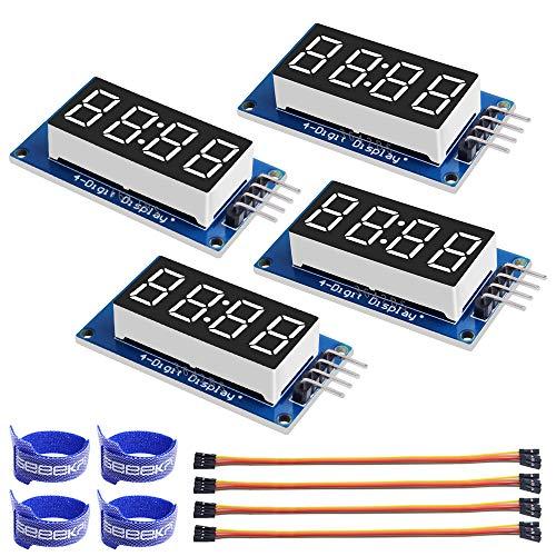 GeeekPi 4Pack 0,36' 4 Stellige Röhren LED 7 Segment Anzeigemodul Rote gemeinsame Anode TM1637 Drive Chip Röhrenuhr Anzeige für Raspberry Pi Arduino