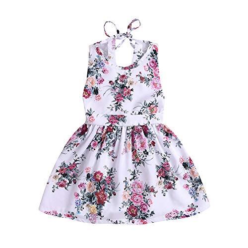 BAOBAOLAI Vestido infantil para meninas com costas abertas, estampa floral, saia de princesa de verão