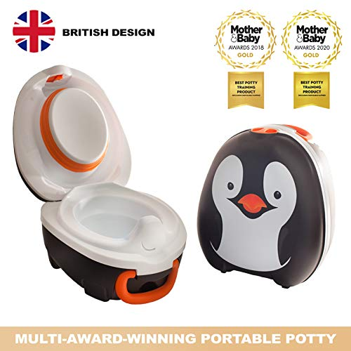My Carry Potty - Penguin Travel Potty, Award-winning Portable Toddler Toilet Seat For Kids To Take Everywhere
