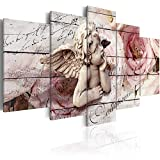 Canvas Print Wall Decor 5 Panels Guardian Angel Flower Painting Art Comfort Picture Artwork for Living Room Bedroom Decoration