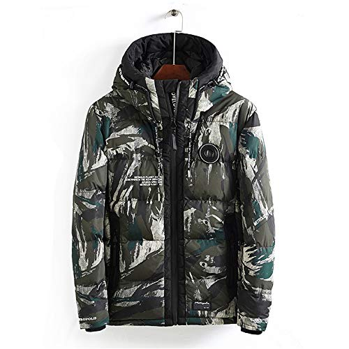 SHINING Heren Jassen?Winter Warm Katoen/Heren Hooded Camouflage Katoen Lange/Heren Katoen Warm, Trendy