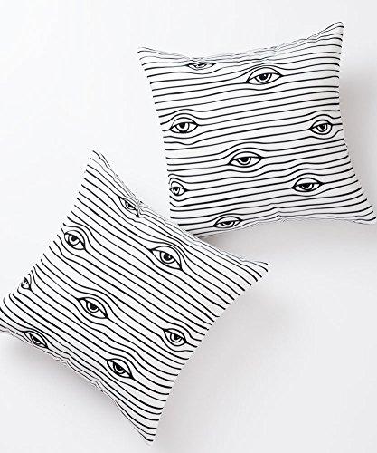 Pantaknot Eyes - Juego de 2 fundas de almohada decorativas de lino y algodón para decoración del hogar, 45,7 x 45,7 cm