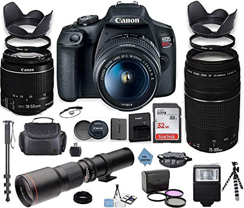 Canon EOS Rebel 2000D DSLR Camera with 18-55mm is II Lens Bundle + Canon EF 75-300mm f/4-5.6 III Lens and 500mm Preset Lens + 32GB Memory + Filters + Monopod + Professional Bundle +TOP KNOTCH Cloth