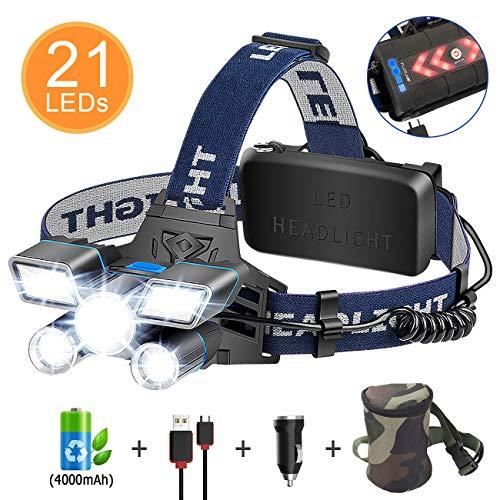 Linterna Frontal LED, ERAY Linterna Cabeza Recargable de Alta Potencia 21 LEDs/ 12000 Lúmenes/ 9 Modos/ IPX4 Impermeable/USB...