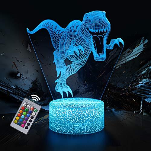 Dinosaurio Luz Nocturna Infantil, Juguete Dinosaurio para Chicos, Lámpara de Noche 3D de 16 Colores con Control Remoto, Regalos de Cumpleaños para Niños y Adultos