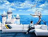 Foto Vlies Wandbild 3D Tapeten Für Wohnzimmer Das Mediterrane Schloss Gemälde 3D Wandbilder Tapete Für Wände-400 * 280Cm
