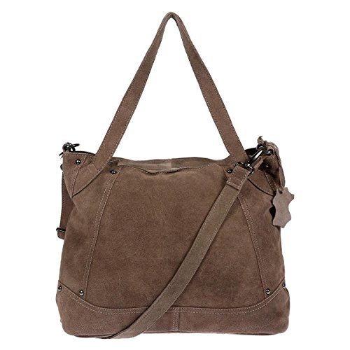 XL Christian Wippermann Leder Damentasche Shopper Bag Schultertasche Plus zusätzlichem Trageriemen Taupe