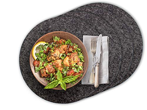 Casoro 4er Filz Platzset rund in anthrazit, hochwertiges Tischset für alle Gelegenheiten, edle Platzmatten je Ø35cm groß, modernes Tisch-Accessoire