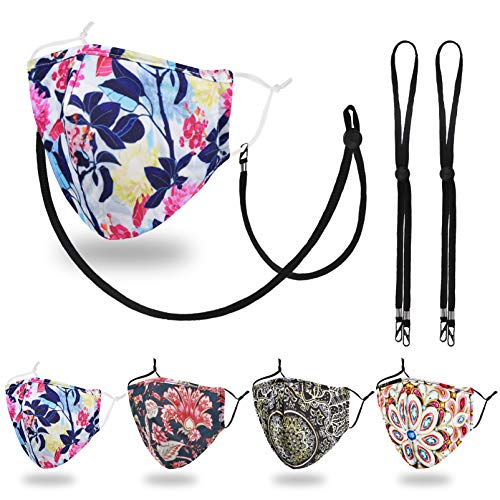 Designer Reusable Cloth Face Mask Women Adult, Lanyard Strap Clip, Breathable Washable Fashion Cotton Fabric Madks Mouth Nose cover, Cubre Tapa ParaâMascarillas, Dust Protection Floral Boho Mandalan