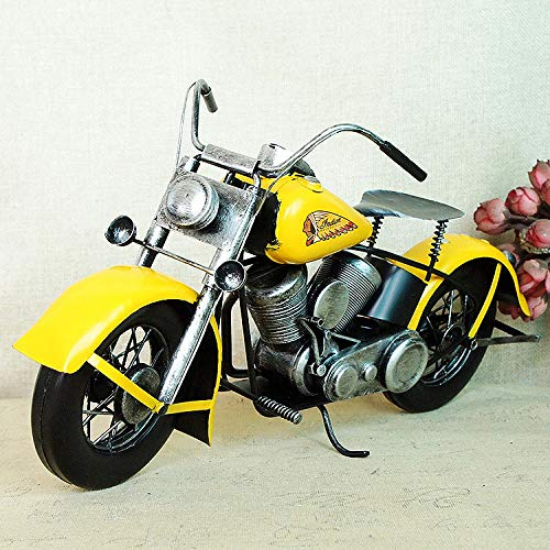 TLLDX Vintage Iron Motorcycle Model Yellow Indian Print Retro Handicraft Collectible Iron Art Sculpture for Motorcycle Lover Home Desk Workplace Office Decoration-DX1915