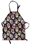 ABAKUHAUS Teschio di Zucchero Grembiule, Messico a Tema Design, Comodo per la Cucina Unisex con Collo Regolabile per Cucinare Cuocere Arrostire e Giardinaggio, Multicolore