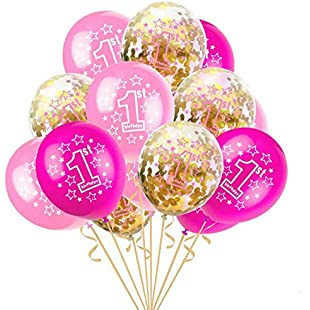 XINDUO-A 15PCS Baby Shower 12 inch Helium Foil Balloons Happy Birthday Party Supplies 1st Party Decoration Air Ball (PINK):Labuttanret