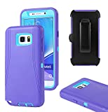 Galaxy Note 5 Case, Harsel Defender Series Heavy Duty Rugged Impact Scratch Resistant Armor Hybrid Military Case with Belt Clip Built-in Screen Protector Shell Cover for Galaxy Note 5 (Purple Blue)