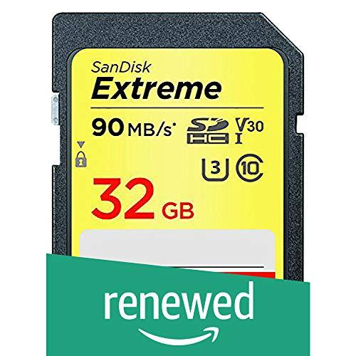 SanDisk Extreme - Scheda di memoria SDHC da 32 GB, prestazioni fino a 90 MB/sec, classe 10, U3, V30 (Ricondizionato)