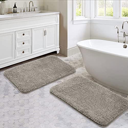Mikrofaser Badezimmer Teppiche Set 2 Teile -50*80cm Shaggy Soft Thick Badematten, Nicht-Slip-Maschine Waschen/Trocknen Absorber Dusche Badezimmer Teppiche und Mats Sets für Badezimmer (Grau)