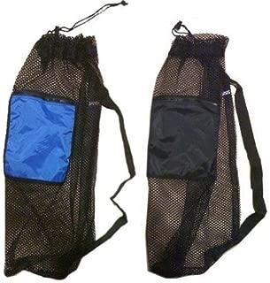 2 Pack Mesh Drawstring Snorkel Bag with 1 Black & 1 Blue Zip Pocket