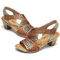 gracosy Sandalias Cuero Verano Mujer Estilo Bohemia Zapatos de Tacón Medio para Mujer de Dedo Sandalias Talla Grande 37-42 Chanclas Romanas de Mujer Café Naranja Hecho a Mano Los Zapatos 2019