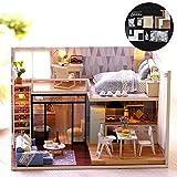 Casa de muñecas DIY, 3D Asamblea de madera Mini casa de muñecas Montaje Juguete Dormitorio Cocina Muebles de baño Kit de diversión Cumpleaños navidad Regalo para niños