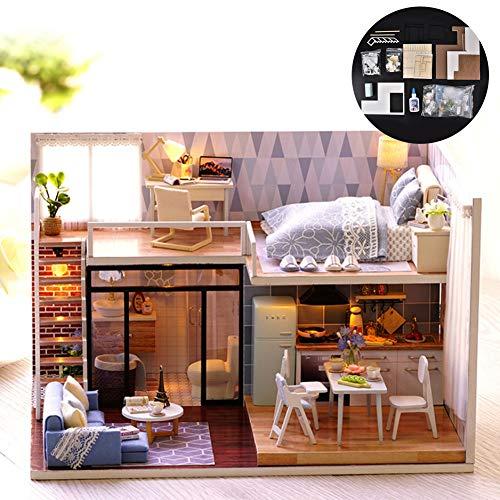 Kit Casa delle Bambole, DIY Legno Giocattoli in Miniatura Modello Assemblare Casa delle Bambole Puzzle House Kit Decorazione Stanza con Accessori per
