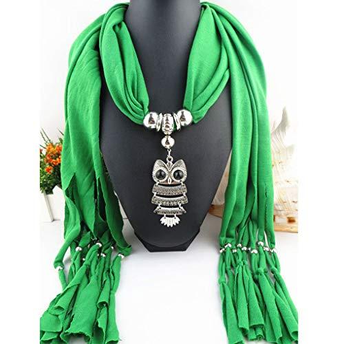 Bonbolaba Joyería búho Colgante clásico de la Mujer Collar de la Bufanda de la Bufanda con Flecos Bufanda Larga