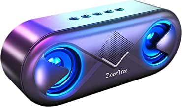 LED Wireless Bluetooth Speaker, ZoeeTree S8 Portable Bluetooth 5.0 Speakers Built-in Two Rhythm Lights Flashing with The B... photo