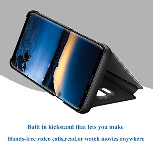 Huawei Honor View 10 hülle S-View Flip 360 Grad Spiegel Phone Huawei Honor View 10 Cover Handy Shell Smart Case Tasche Smartphone Scratchproof Bumper Hard (Schwarz, Huawei Honor View 10) - 5