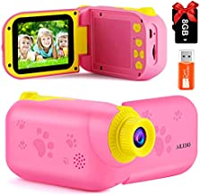 Kids Video Camera Children Camcorder - Birthday Gifts for Boys Girls 3 4 5 6 7 8 9 Years Old Kids Cameras Digital Recorder Toy for Toddler with 8G Card Rechargeable IPS 2.4 Inch Pink