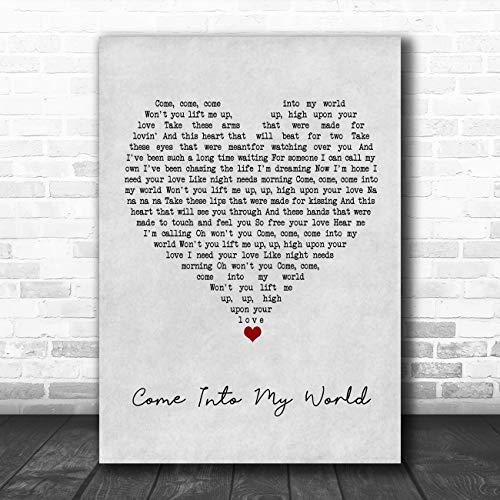 Kom in mijn wereld grijs hart lied lyrische citaat muziek poster print Medium A4