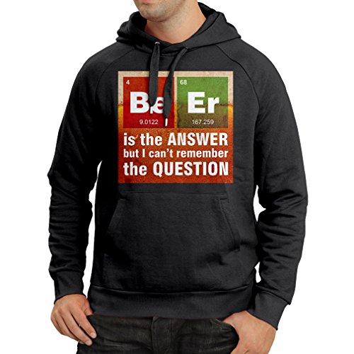lepni.me Felpa con Cappuccio La Birra è la Risposta! Scienziato Intelligente, Amante della Chimica Dono Amante della Chimica (Medium Nero Multicolore)