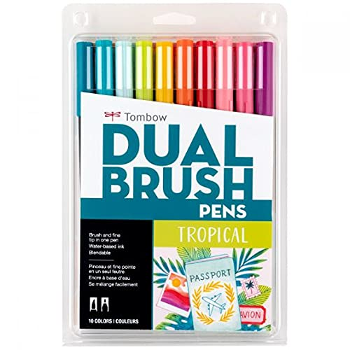 Tombow 56189 Dual Brush Pen Art Markers, Tropical, 10-Pack. Blendable, Brush and Fine Tip Markers
