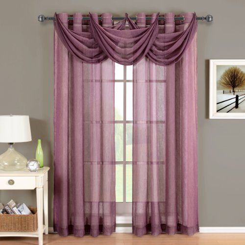Royal Hotel Abri Eggplant Grommet Crushed Sheer Curtain Panel, 50x84 inches