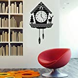 Sticker Mural Horloge Coucou Antique Sticker Mural-Autocollant D'Art En Vinyle Personnalisé 32X57Cm Pour Intérieur, Résidence, Salon, Appartement Et Chambre À Coucher