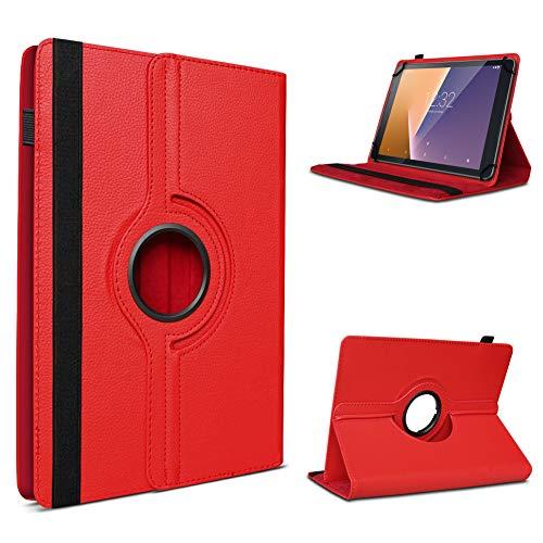 UC-Express Tablet Hülle kompatibel für Vodafone Tab Prime 6/7 Schutzhülle aus Kunstleder Tasche mit Standfunktion 360° drehbar Universal Cover Hülle, Farben:Rot