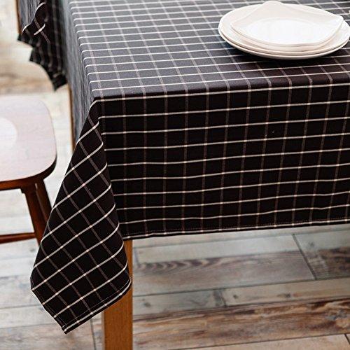 Ommda Nappe Rectangulaire Lin Coton Rouge Nappe de Table Anti-Tache 90x140cm Brun foncé