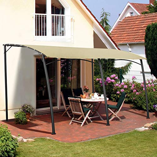 AECOJOY 13 x 10ft Sunshade Awning Gazebo with Waterproof Polyester Fabric, Outdoor Wall Gazebo w/Steel Stand for Porch, Patio, Deck, Backyard, Beige, 2021 New
