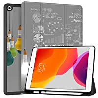 """MAITTAO iPad 10.2"""" 2019 Case with Apple Pencil Holder,Folio Stand Smart Cover Shockproof Soft TPU Back Shell For iPad 7th Generation 10.2 inch Tablet Sleeve Bag 2 in 1 Bundle, Creative Bulb 5"""