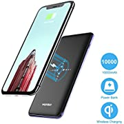 Wofalodata Wireless Portable Charger, 10000mAh Qi Charging Power Bank External Battery Pack 2 in 1 With Dual Fast Charging Port Portable Charger for iPhone X, Galaxy S8/S8 Plus And More -Black
