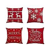 Fundas Cojines de Navidad 4 Pieza, Patrón de Copo de Nieve Ciervo Merry Christmas Funda de Cojines 45x45 Navidad Decoracion para Hogar Casa Sofa Jardin Cama (01)