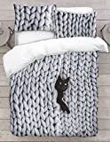 Adam Home 3D Copripiumino Stampa Digitale - Cat in Chunky Yarn Knitted Blanket Visual - Singolo, Doppio, Re, Super King, Imperatore