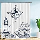 "VIMMUCIR Sail Boat Nautical Shower Curtain, Lighthouse and Compass Navy Blue Print Bathroom Decor, Waterproof Fabric Curtains for Bathroom, Stalls and Bathtubs, 60"" W x 72"" H"